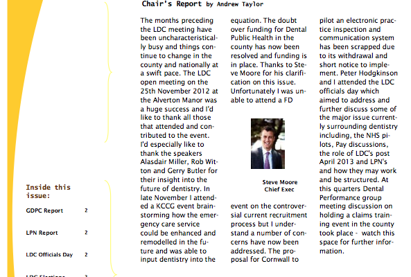 Cornwall Local Dental Committee Newsletter February 2013